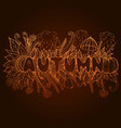 rust autumn word with doodle elements pumpkin vector image vector image