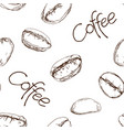 seamless background with coffee beans vector image vector image