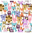 seamless pattern cute colorful animal cartoon vector image