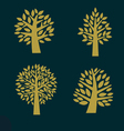 set gold tree symbol isolated on dark background vector image