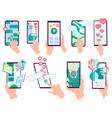 set hands holding smartphones with heart emoji vector image vector image