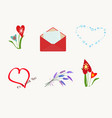 set of different elements for romantic postcard vector image vector image