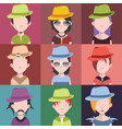 set people icons with faces vector image vector image