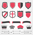 Set shields heraldic crowns ribbons arrows vector image vector image