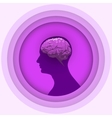 Silhouette of the human head with glowing brain vector image vector image