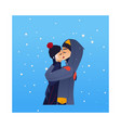 sketch lovers hugging kissing at winter vector image vector image