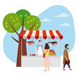 street food meat market talls canopy and products vector image vector image