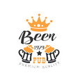 stylish black and orange emblem for pub vector image vector image