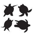 turtle silhouettes vector image vector image