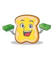 with money slice bread cartoon character vector image vector image