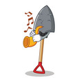 with trumpet shovel character cartoon style vector image vector image