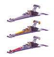 low poly top fuel dragsters vector image