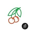Cherry symbol Linear style logo vector image