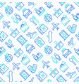 airport seamless pattern with thin line icons vector image vector image