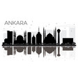 ankara city skyline black and white silhouette vector image vector image