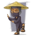 Cartoon black kung fu ninja in mask vector image