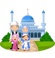 cartoon happy muslim family in front mosque vector image vector image