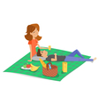 cartoon style of young happy couple having picnic vector image vector image
