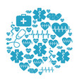 circular pattern blue silhouette health symbol and vector image