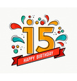 colorful happy birthday number 15 flat line design vector image vector image