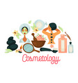 cosmetology promotional poster with female clients vector image vector image
