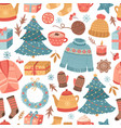 cozy christmas pattern winter gift mug drink vector image vector image