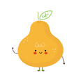 cute funny pear fruit character hand drawn vector image vector image