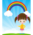 Cute little girl pointing the finger on sunburst vector image vector image