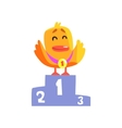Duckling Champion Cute Character Sticker vector image vector image