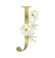 floral alphabet and serif letter vector image vector image