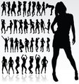 girl silhouette in black color vector image vector image