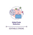 global trade reduction concept icon vector image vector image