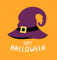 halloween card with cute cartoon witch hat vector image vector image