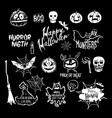 Halloween set drawn Halloween symbols pumpkin vector image