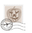 halloween stamp with carved pumpkin vector image vector image