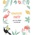 hawaiian card with toucan flamingos flowers and vector image vector image