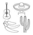 line art black and white 4 mexican elements vector image vector image