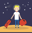 mars colonization young teenage character moving vector image vector image