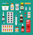 medicines collection isolated on green backdrop vector image