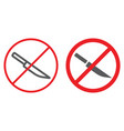 no knife line and glyph icon prohibited and vector image vector image
