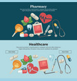 pharmacy and healthcare web pages templates pills vector image vector image