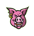 pink pig wearing earring mascot vector image vector image