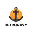 retro anchor navy logo icon design template vector image