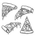 set isolated pizza slice sketch pizzeria vector image