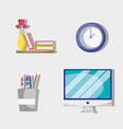 set office flat accessory to work vector image