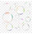 set transparent soap bubbles vector image