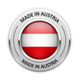 Silver medal Made in Austria with flag vector image vector image