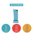 skyscraper building flat icons set vector image vector image