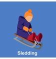 Sledding children design flat style vector image