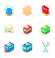 social transport icons set isometric style vector image vector image